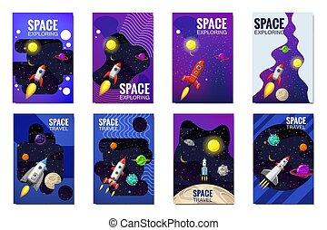 set, razzo, isolated., banners., distante, flyear, cartelle, bandiera, viaggio spaziale, volare, pubblicazione periodica, libro, vettore, stelle, razzi, manifesti, sagoma, universo, coperchio, pianeti, illustrazione, galassie, esplorazione, altro
