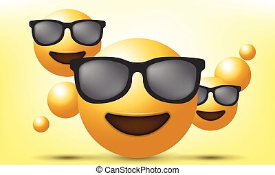 Set Realistic, Emoji Emoticon. Vector Illustration