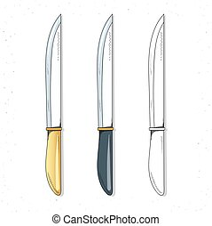 Set realistic sketch knives. Knives for design. Cutlery...