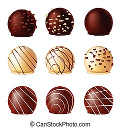 Set realistic vector of chocolates,