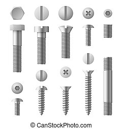 set, realistico, bulloni, metallo, isolato, noci, vettore, viti, chiodi, 3d