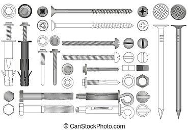 set, realistico, bulloni, noci, vettore, rivets., viti, linea