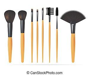 set, realistico, fare, spazzole, isolato, su, fondo., bianco