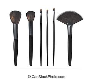 set, realistico, fare, spazzole, su, illustrazione, isolato, fondo., vettore, bianco