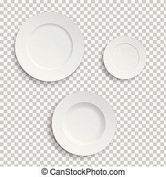 set, realistico, fondo, piastre, bianco, trasparente