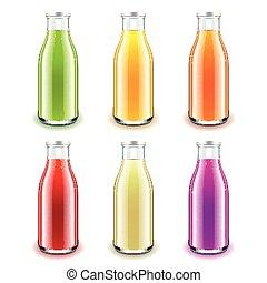 set, realistico, vetro, succo, vettore, bottiglia, 3d