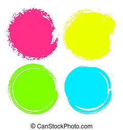 set, reclame, kleurrijke, cirkels, vlekken, achtergronden, vrijstaand, tekst, hand, achtergrond., vector, illustratie, getrokken, witte , zakelijk, promotion.