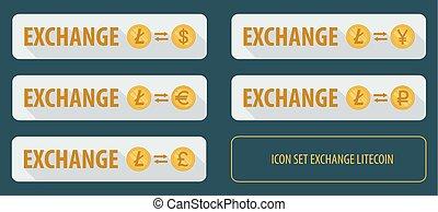 Set rectangular horizontal buttons exchange cryptocurrency Litecoin