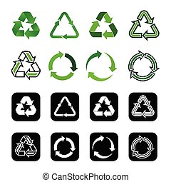 set recycle icon vector