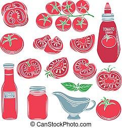 Set red decorative tomato vegetables