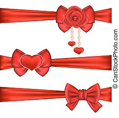 Set red gift bows ribbons with rose and heart, isolated on white background