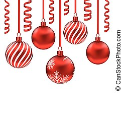 Set red glass balls with serpentine for Merry Christmas,...