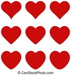 Set red hearts elegant geometric shape, vector icon sign favorite heart symbol of love, for lovers on Valentines day