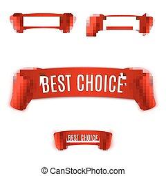 Set Red realistic Ribbon.