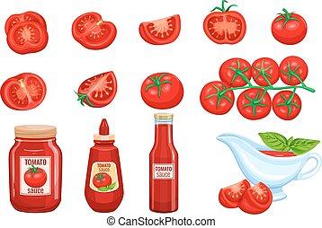 Set red tomato vegetables sauce