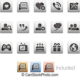 set, reeks, -, communicatie, sociaal, metalbox, pictogram