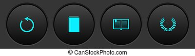 Set Refresh, Book, Open book and Laurel wreath icon. Vector