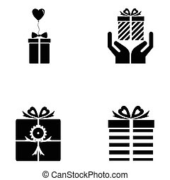 set, regalo, icona