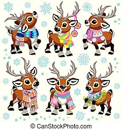 set reindeer wearing a scarf