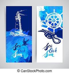 set, reizen, oceaan, banners., ontwerp, zee, nautisch, marinier