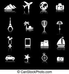 set, reizen, vector, iconen