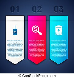 Set Remote control, Magnifying glass and dollar and Voice assistant. Business infographic template. Vector