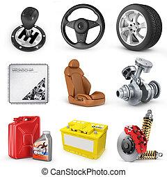 set, render, icons., onderdelen, auto., 3d