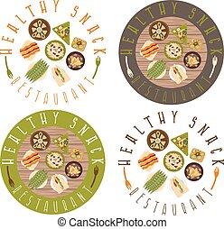 set, restaurant, gezonde , etiketten, voedingsmiddelen, vector
