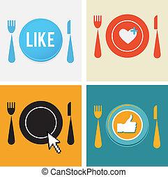 set, restaurant, voedsel beelden, vier, web