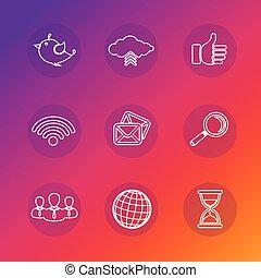 set, rete, icone, silhouette., sociale, bianco