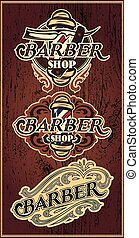 Set retro badges with ornament for Barbershop