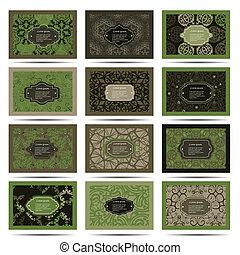 Set retro business card. Card or invitation. Vintage decorative elements. Hand drawn background. Islam, Arabic, Indian, ottoman motifs.