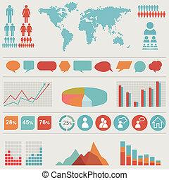 set., retro, infographics