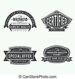 set retro monochrome vintage labels