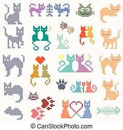 Set retro pixel cat