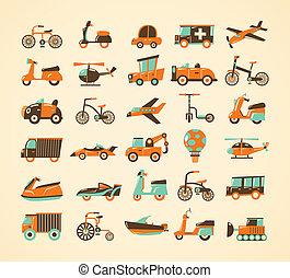 set, retro, vervoeren, iconen