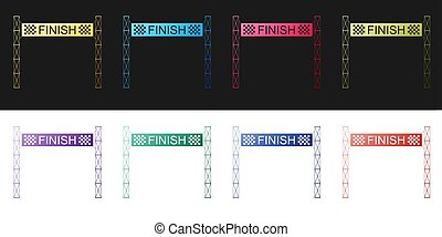 Set Ribbon in finishing line icon isolated on black and white background. Symbol of finish line. Sport symbol or business concept. Vector