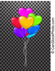 Set ribbons color . illustration bunch of Birthday transparent Balloon isolated. Party decorations for