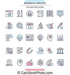 set, ricerca, analisi, icona