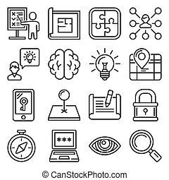 set, ricerca, fondo., linea, bianco, stile, icone, vettore