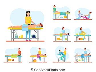 set, rilassante, medico, sessione, bandiera, massaggio