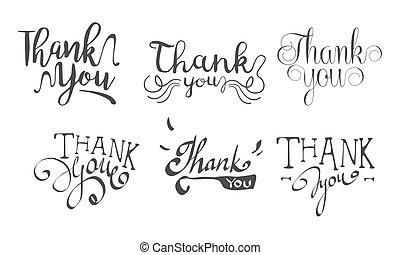 set, ringraziare, etichette, illustrazione, mano, vettore, retro, disegnato, lei
