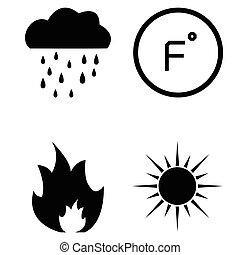 set, riscaldamento, icona