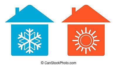 set, riscaldare, e, freddo, in, casa, icona