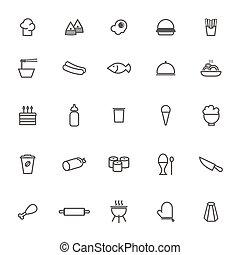 set, ristorante, cibo, vettore, fondo, bianco, icona