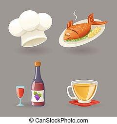 set, ristorante, icone, illustrazione, simboli, vettore, disegno, retro, cartone animato