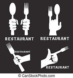 set, ristorante, vendemmia, emblemi, vettore, mani