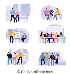 set, riunione, icone affari
