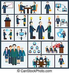 set, riunione, icone