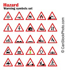 set road hazard warning signs, road signs warn about the situation of traffic rules, vector red triangle. set of symbols.